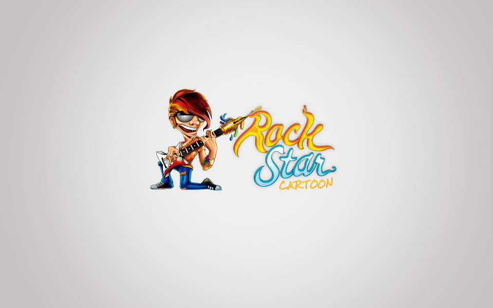 Rock Star Cartoon Logo Design