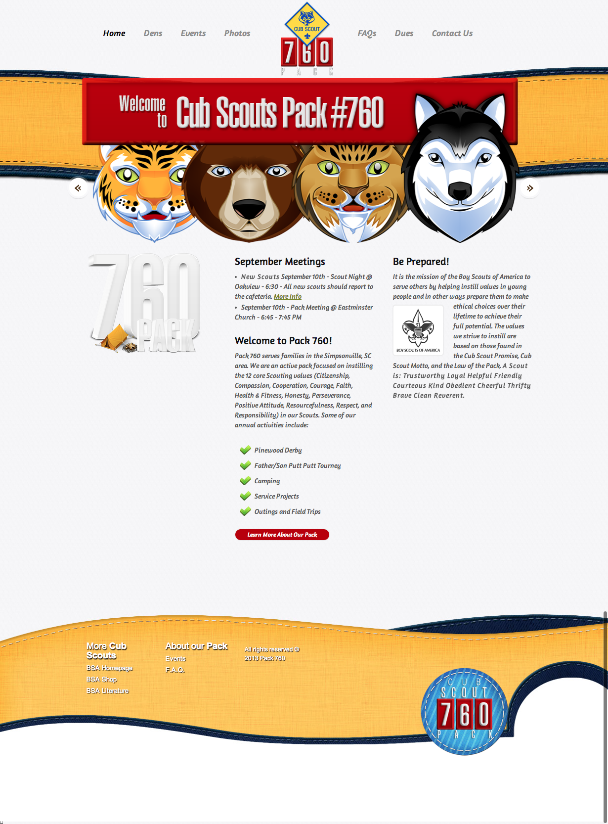 Web Design Cub Scouts Pack 760
